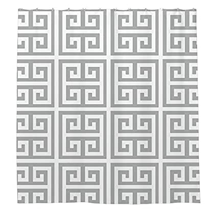 Image Unavailable Not Available For Color Angelly Charcoal White Med Greek Key Shower Curtain