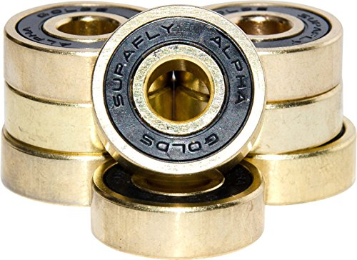 Supafly Skate Company Alpha Golds Best Roller Aggressive Skate Ball Bearings ABEC 9 for Skateboard, Longboard with Bonus Metal Carrying Case - Pack of 8