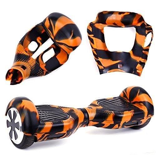 """6,5"""" Housse/Coque De Protection En Silicone Pour Hoverboard Segway 2 Roues, Cool&Fun Coque Anti-rayures Etanche,Camouflage Orange et Noir"""