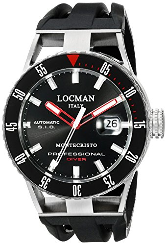 Locman Italy Men's 051300KRBKNKSIK Montecristo Professional Divers Automatic Analog Display Automatic Self Wind Black Watch by Locman Italy