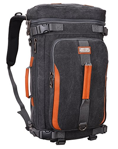WSHIHAOM Canvas Rucksack Laptop Outdoor Backpack Travel Hiking Daypack A302 (Canvas Black)
