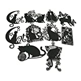 Cute Vivid Hollow Design Matte Black Cat Kitty Metal Mini Bookmarks Pack of 10 for Books Kids Student Teacher Adults Gifts