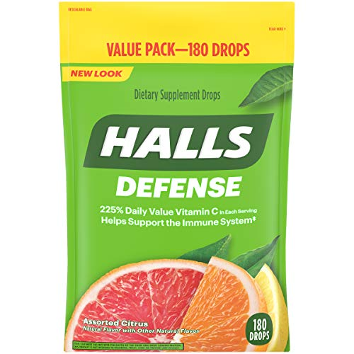 180 Lozenges - Halls Defense Citrus Vitamin C Drops - 180 Drops (1 bag of 180 drops)