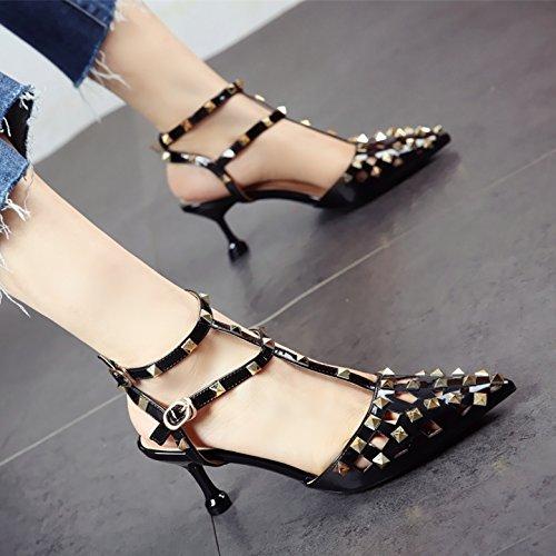 tacón Sexy Zapatos Verano de Unión señora y YMFIE Hueco Moda a señaló de Sandalias Laca Remache 6q8w45dYpx