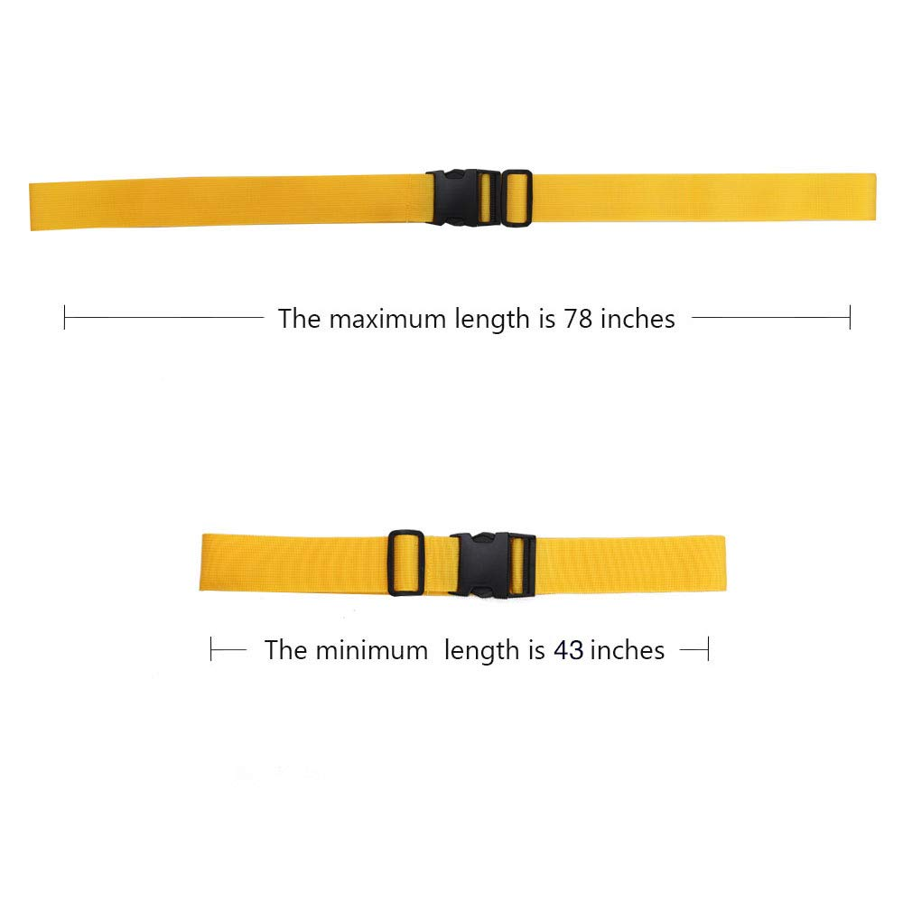Adjustable Travel Luggage Strap, Nylon Suitcase Belt Luggage Tage Set to Keep Your Luggage Organized and Secure, 43''-78'' Adjustable/Yellow by muyan (Image #4)