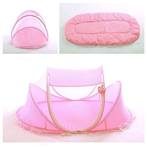 SUPOW Baby Mosquito Net Bed, Portable Infant Tent Folding Infant Travel Crib Mosquito Bed Summer (Pink/) by SUPOW (Image #4)