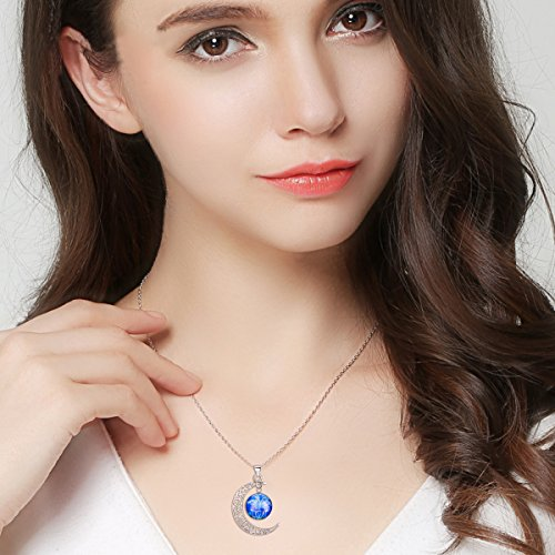 "BriLove 925 Sterling Silver Necklace for Women -""Gemini"" Galaxy Constellation Zodiac Horoscope Astrology 12 Crescent Moon Glass Bead Pendant Necklace"