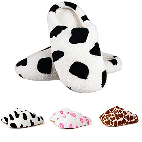 Coral Fleece Lovers Slippers Cotton-padded Floor Slippers Women Men Indoor Shoes (EUR 41-43, Cow (Cow Pattern)