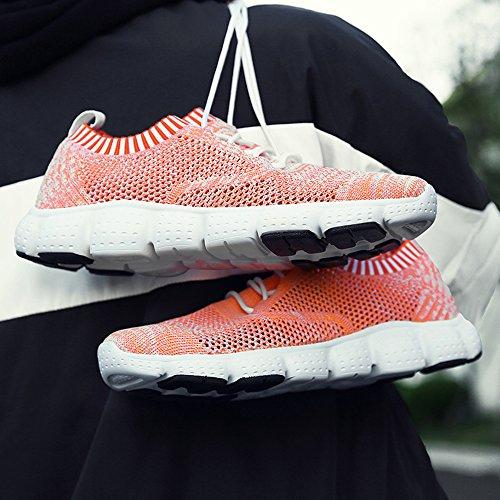 Sneakers Da Uomo Qansi In Maglia Leggera Traspirante E Leggera Da Ginnastica Arancione