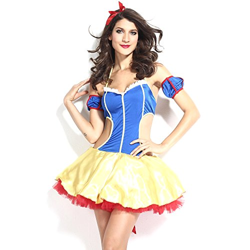 [Slocyclub Women Classic Snow White Costume Dress and Bow Head Halloween Suit] (Sexiest Couple Halloween Costumes)