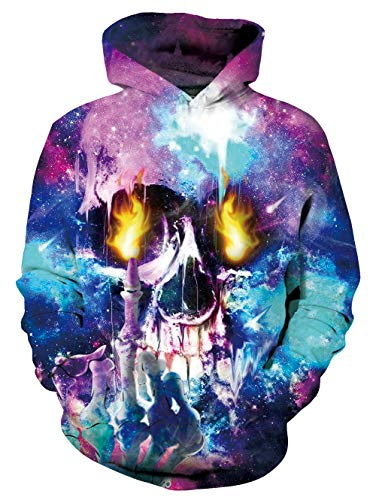 Uideazone Men Women 3D Skull Fire Printed Pullover Hoodie Sweatshirt Cool Outwear Coat with Big Pockets