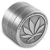 Formax420 Zinc Alloy Herb Grinder Leaf Designed on Top Part 50 mm 4 Piece with Free Pollen Presser and Pollen Catcher (without pollen presser)