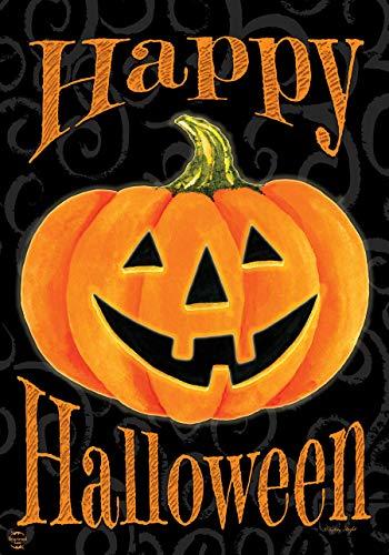 Briarwood Lane Glowing Jack-O-Lantern Halloween House Flag Carved Pumpkin 28