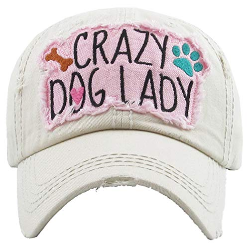 H-212-CDL60 Distressed Baseball Cap Vintage Dad Hat - Crazy Dog Lady (Beige)