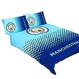 Manchester City FC Official Fade Reversible Football Crest Duvet Cover Bedding Set (Full) (Blue/Navy)