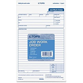 Amazon.com : TOPS Job Work Order Forms, 3-Part, Carbonless, 5-1/2 ...