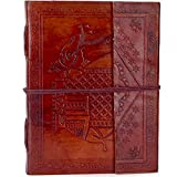 Handmade Genuine Leather Journal Eco Friendly Unlined Pages Compact Travel Diary Writing Journal for Men and Women (Brown, 8''x 6''x 1'')