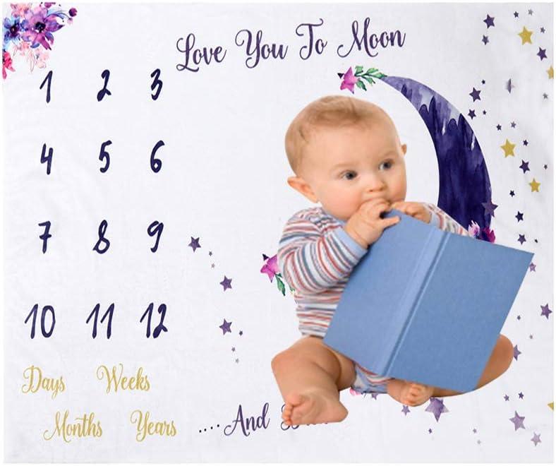 Decdeal 47 39 Pulgadas Mantas de Beb/é Manta de Hito Mensual para Beb/és Mantas de Franela Suave Foto Imagen Fondo Regalos de Cumplea/ños para Beb/és Reci/én Nacidos Ni/ños Peque/ños