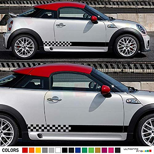 Mini Cooper Checkered Hood Sides /& Back Stripes Decals 2008 2009 2010 2011