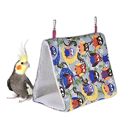 Yunt Triangular Bird Nest Parrot Birds Small Pet Warm Hammock Hanging Cave Cage Plush Snuggle Happy Hut Tent Bed Owl Pattern L by Yunt