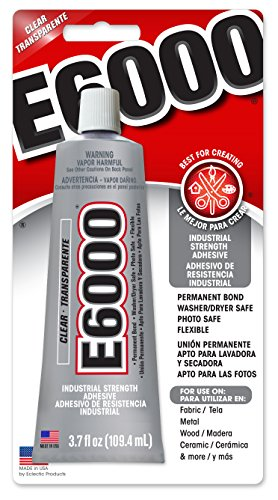 Adhesive Dries Clear Fabric (E6000 230010 Craft Adhesive, 3.7 Fluid Ounces)