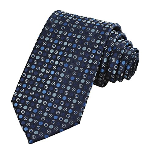 Mens Navy Blue Polka Dot Circle Pattern Jacquard Woven Tie Necktie ()