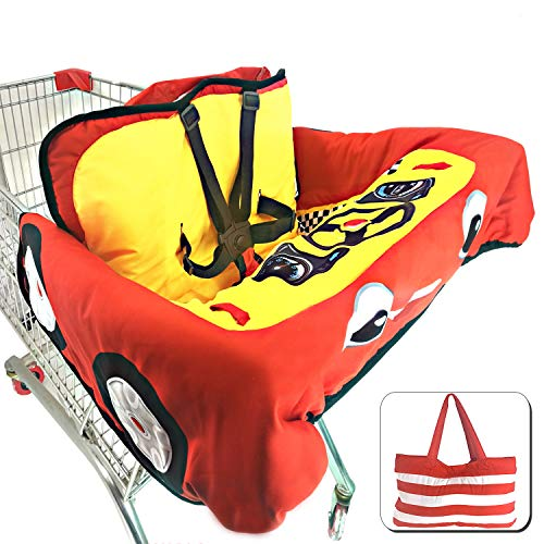 Cute Car Design 2-in-1 Shopping Cart&High Chair Cover for Baby with Portable Bag   Universal Fit All Shopping Cart Seat& Restaurant Highchair   Fits Big Carts   5 Point Safety Harness System (Red) from Brain Architect Child