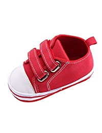 Unisex Baby Solid Cap Toe Double Velcro Sneakers Rubber Sole Crib Shoes