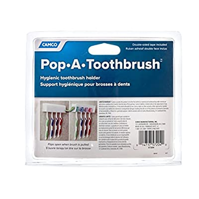 Camco A Pop-A-Toothbrush Wall Mounted Holder With Germ Protecting Cover, Perfect For Traveling, Dorm Bathrooms and More, Holds 4 Toothbrushes- (Black) (57207): Automotive