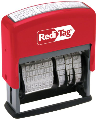 Redi-Tag Self-Inking Standard 12 Phrase Date Stamp, Stamp Impression Size: 3/16 x 2-3/16 Inches, Black (97015)