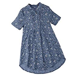 Pengy Woman V Neck Top Pleated Floral Print Skirt Casual Short Sleeve Tops Ladies T Shirt Blouse Sky Blue