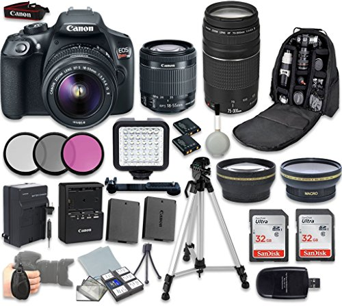 Canon EOS Rebel T6 DSLR Camera Bundle with EF-S 18-55mm f/3.5-5.6 IS II Lens + Canon EF 75-300mm f/4-5.6 III Lens + Professional Complete Accessory Bundle (19 Items)