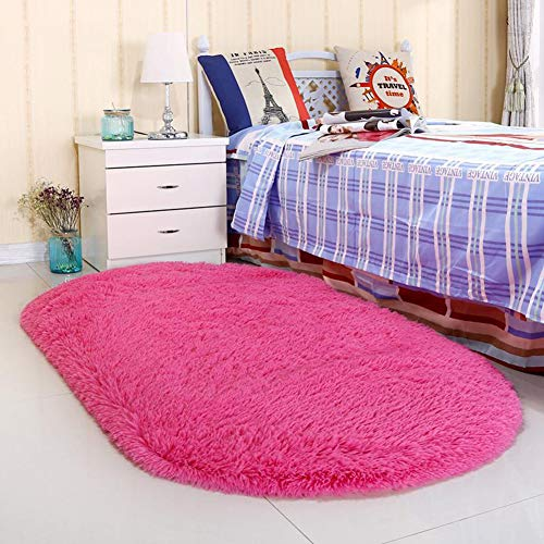 Noahas Ultra Soft 4.5cm Velvet Bedroom Rugs Kids Room Carpet Modern Shaggy Area Rugs Home Decor 2.6' X 5.3' (Hot Pink)]()