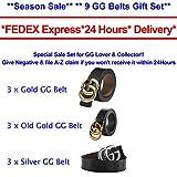 """G-Style Silver Buckle Unisex Mens Womens Fashion Belt ~ 3.8cm Belt Width (110cm (Waist 32""""~38"""" or Below), Black)"""