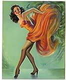 #7: Vintage 1940s Billy Devorss Pin-Up Fire Dancer Art Deco Fine Leggy Brunette Mint