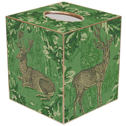 Marye-Kelley Christmas Deer Tissue Box Cover - TB8599-Woodland Deer Green Garland Tissue -