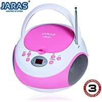 Jaras Limited Edition Portable Pink Boombox Stereo CD Player with AM/FM Stereo Radio and Aux Line-in