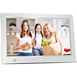 CHEWTSAN 10.1 Inch HD Digital Photo Frame with HU Motion Sensor, 16:9 High Resolution LCD, Lossless Music, 1080P 30FPS Video, E-book, Multi-language, Alarm Clock and Calendar (White)