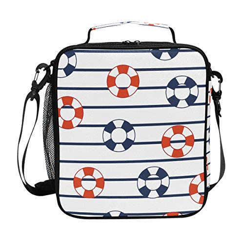 Lunch Box Bag Insulated Lunch Tote Lifesavers Floater Marine Stripes Thermal Cooler Shoulder Strap Portable Food Container Travel Office School Picnic For Women