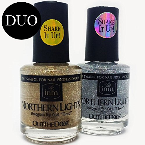 INM Northern Lights Hologram Top Coat DUO (Best Glitter Top Coat)