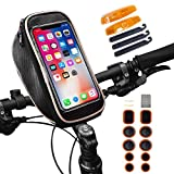 Waterproof Bike Bag, Smartphone Bicycle Bag, Bike Handlebar Bag, Road & Mountain Bike Pouch for iPhone X 8 7 6/Samsung Galaxy S7 S8 S9 Plus | Gifts: Safety Reflectors & Tire Repair Kit