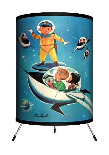 Lamp-In-A-Box TRI-SEP-JJSPA Saturday Evening Post - Jack n' Jill A Day in Outer Space Tripod Lamp