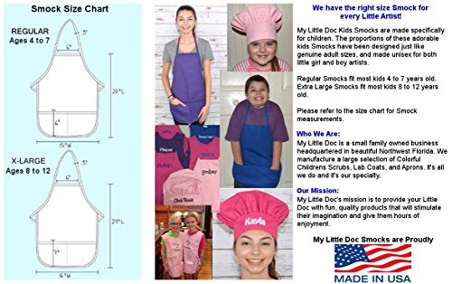 Purple Kids Art Smock, Apron, Extra Large, Poly/Cotton Twill Fabric by My Little Doc (Image #5)