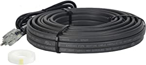 XAREX RPH 120V 18ft, Pipe Heat Cable with Glass Tape, Self-Regulating Pre-assembled Heat Tape with 6ft Cord & Lighted Plug for Freeze Protection of Plastic and Metal Water Pipes Electrical Heat Trace