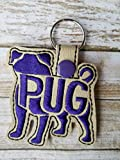 Pug Breed Keychain, Key fob,