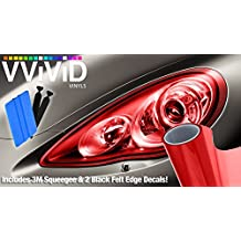 "VViViD Extra-Wide Headlight Taillight Vinyl Tint Wrap 16"" x 48"" Roll Including 3M Blue Squeegee & 2x Black Felt Edge Decals (Red)"