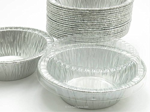 Disposable Aluminum 4'' Deep Mini Pie/Tart Pan with Clear Dome Lids 1152P (50)