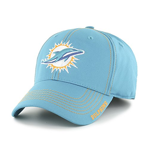 NFL Miami Dolphins Adult Start Line Ots Center Stretch Fit Hat, Medium/Large, Neptune ()