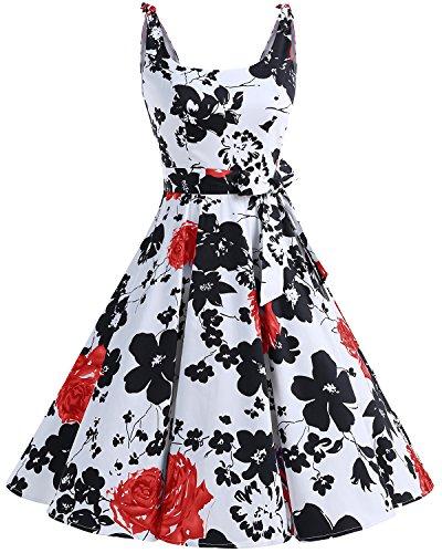 Bbonlinedress 1950's Bowknot Vintage Retro Polka Dot Rockabilly Swing Dress RedFlower XL