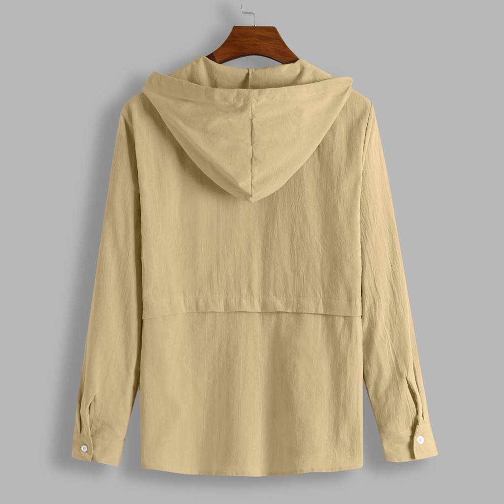 Shirts for Mens Cotton Blend Casual Solid Color Hooded Button Loose Long Sleeve Shirt Tops Blouse